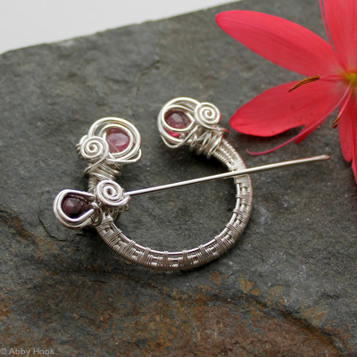 Penannular Brooch - Woven Sterling silver and faceted Pink Tourmaline