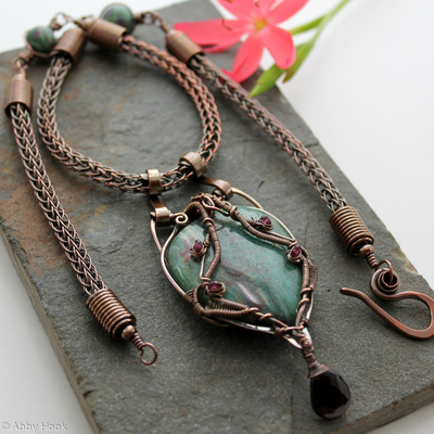 Kundalini Viking Knit Necklace - Copper with Dragon Stone, Garnet and Ruby in Zoisite