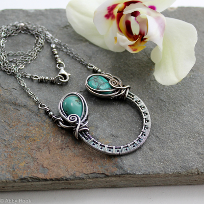 Ornate Horseshoe Necklace - Sterling silver and Turquoise