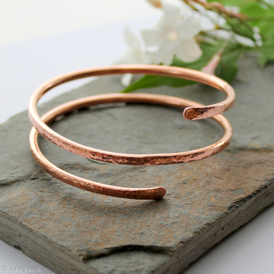 Double wrap Copper Bangle, Bracelet, Cuff