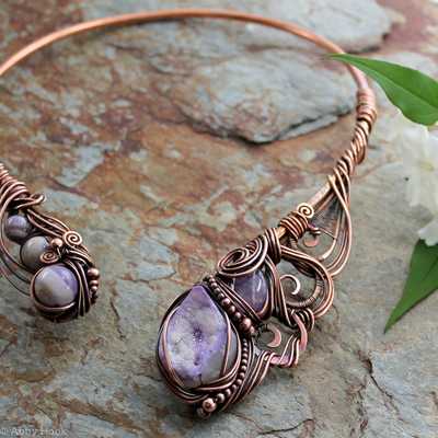 Ananda - Bliss - Neck Torc - Copper, Purple Druzy Agate, Amethyst and Amechlorite, Celtic Torq or Torque