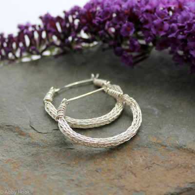 Viking knit Hoop earrings - Sterling Silver wire hoop earrings