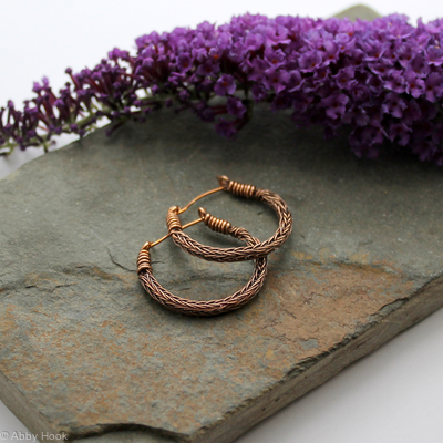 Viking knit Hoop earrings - Antiqued Bronze wire hoop earrings