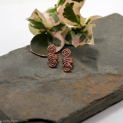 Double Spiral Beard, Dreadlock or braid ring or bead - Shiny Copper - small - 1 pair