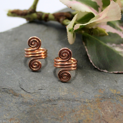 Double Spiral Beard, Dreadlock or braid ring or bead - Shiny Copper - Medium - 1 pair