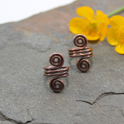 Double Spiral Beard, Dreadlock or braid ring or bead - Antiqued Copper - Medium - 1 pair