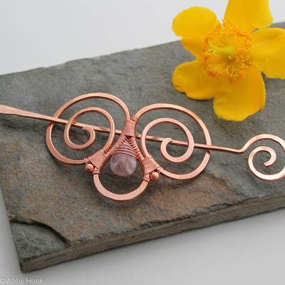 Embellished Double Spiral Hair Barrette - Copper and Fluorite - Hair clip - small