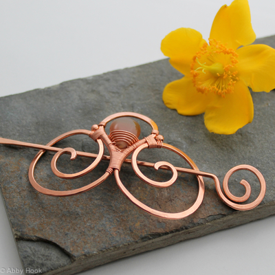 Embellished Double Spiral Hair Barrette - Copper and Natural Agate - Hair clip - small