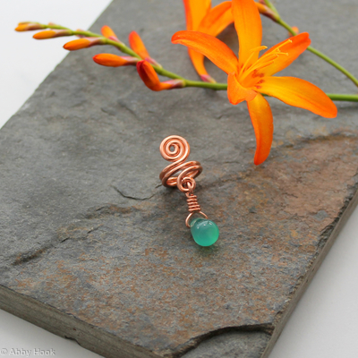 Spiral with Green Agate dangle Beard, Dreadlock or braid ring or bead - Shiny Copper - Medium