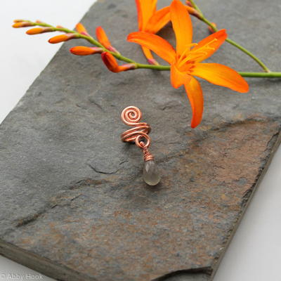 Spiral with Grey Moonstone dangle Beard, Dreadlock or braid ring or bead - Shiny Copper - Medium