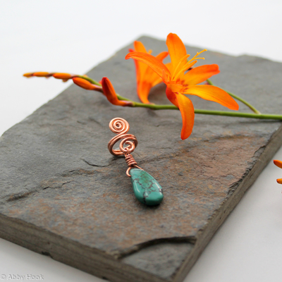 Spiral with Turquoise dangle Beard, Dreadlock or braid ring or bead - Shiny Copper - Medium