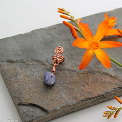 Spiral with Tanzanite nugget Beard, Dreadlock or braid ring or bead - Shiny Copper - Medium