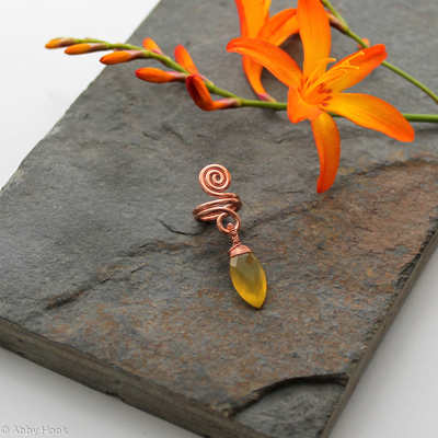 Spiral with Yellow Chalcedony dangle Beard, Dreadlock or braid ring or bead - Shiny Copper - Medium