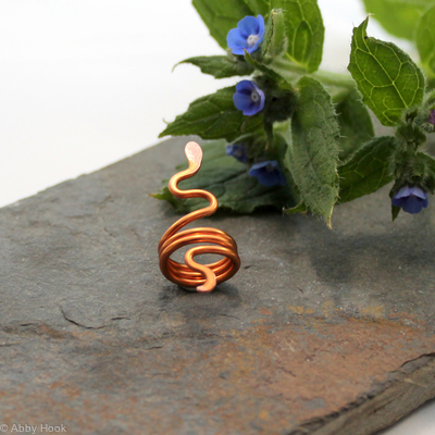 Snake Beard, Dreadlock or braid ring or bead - Copper - Large