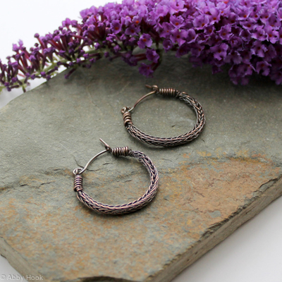 Viking knit Hoop earrings - Antiqued Copper wire hoop earrings