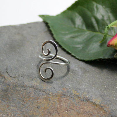 Single Wrap Double Spiral Sterling Silver Adjustable ring