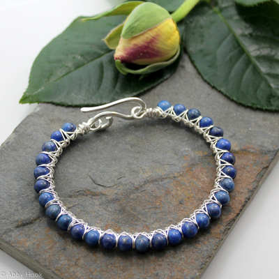 Kiss Kross Bracelet - Sterling silver and Lapis Lazuli - wire wrapped bracelet