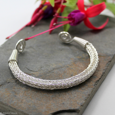 Viking Knit Wrist Torc - Sterling silver - medium, Celtic Torq or Torque