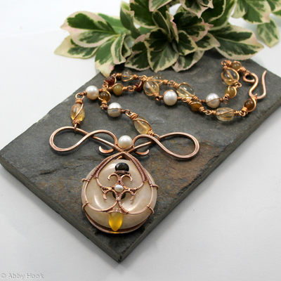 Mermaids Tear Drop Necklace - Bronze with Honey Jade, Tourmaline, Yellow Chalcedony, Citrine, Garnet and Pearls