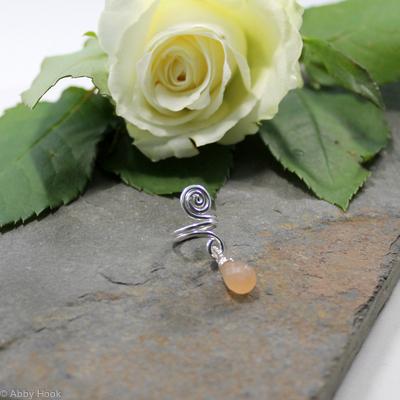 Spiral with Peach Moonstone dangle Beard, Dreadlock or braid ring or bead - Shiny Sterling silver - Medium