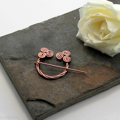 Penannular Brooch - Celtic Spirals - Twisted Copper - Celtic brooch number 2
