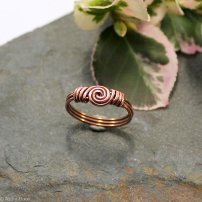 Spiral Love Knot Ring - Copper - wire wrapped ring