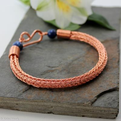 Viking knit bracelet - Double knit Copper wire and Lapis Lazuli