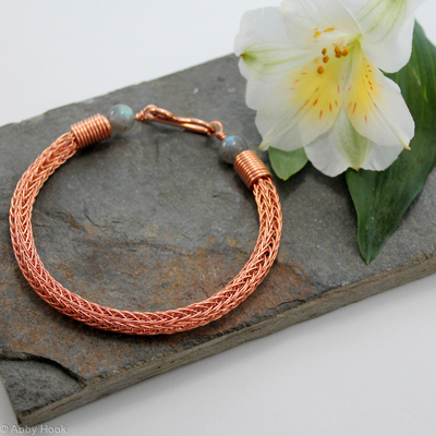 Viking knit bracelet - Double knit Copper wire and Labradorite