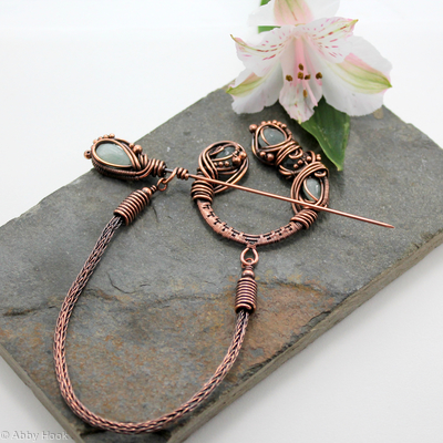 Celtic Brooch - Copper and Aquamarine - asymmetrical pseudo-penannular brooch