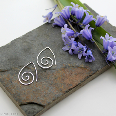 Ammonite open pointed spiral tribal earrings - 1mm sterling silver