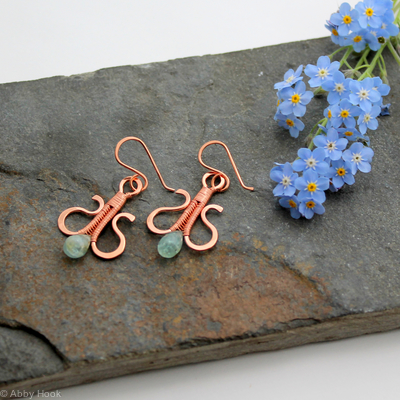 Simply Elegant wire woven earrings - copper and Aquamarine wire wrapped dangle earrings