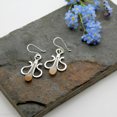 Simply Elegant wire woven earrings - sterling and fine silver with peach Moonstone wire wrapped dangle earrings