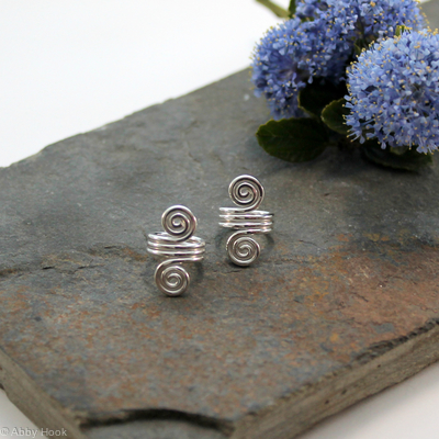 Double Spiral Beard, Dreadlock or braid ring or bead - Shiny Sterling Silver - Large - 1 pair