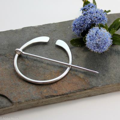 Penannular Brooch -Smooth Sterling Silver - Celtic brooch - Fibula brooch