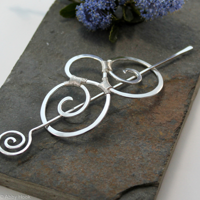 Double Spiral Hair Barrette - Smooth Sterling Silver - Hair clip