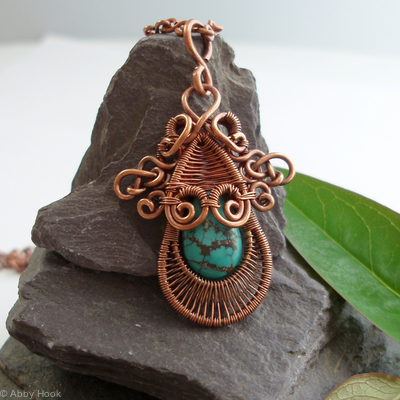 Gorgon Layered Woven Pendant - Copper and Turquoise
