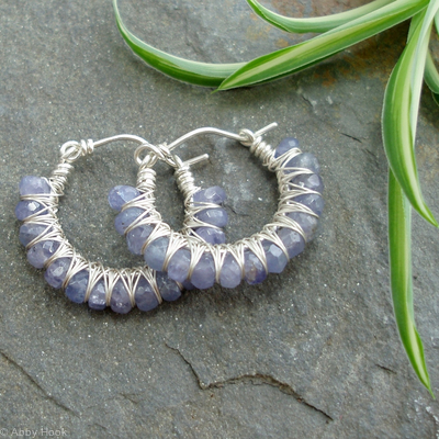 Kiss Kross Hoop Earrings - Tanzanite