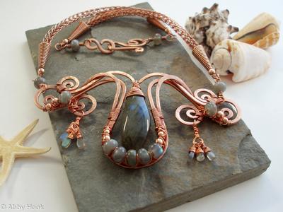 Mermaids Tear Drop Necklace - Copper and Labradorite