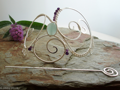 Large Barrette with Amethyst and Amazonite
