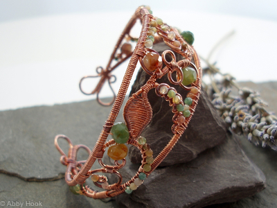 Lace - Filigree Inspired cuff - Copper and Fancy Jasper