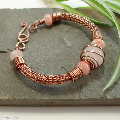 Torcesque - Rose Quartz and Copper bracelet