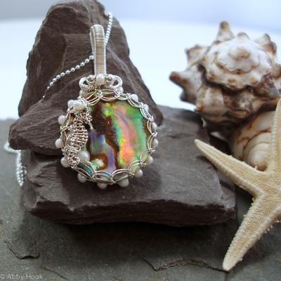 Pearls and Paua pendant