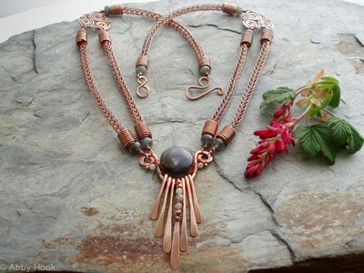 Mielikki - Goddess of the Forest Necklace - Labadorite, Amazonite and copper
