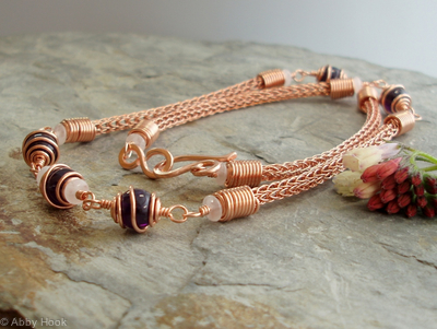 Freyja necklace - copper and Amethyst