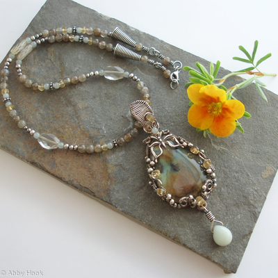 Summer Butterfly Necklace - Labrodorite and Sterling silver