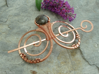 Embellished Double Spiral Hair Barrette - Copper and Labradorite