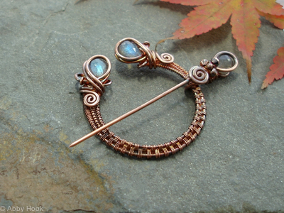 Penannular Brooch - Woven Copper and Labradorite