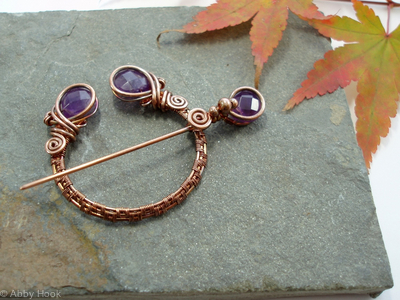 Penannular Brooch - Woven Copper and Amethyst