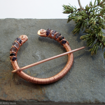 Penannular Brooch - Copper and Iolite