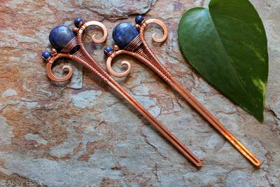 Hair Sticks - Copper and Lapis Lazuli - one pair